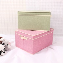 Custom Cube Linen Fabric Storage Boxes Folding Multipurpose Storage Toy Organizer Bins For Household