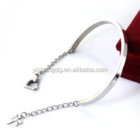 316 stainless steel silver bangle charms dragonfly heart lobster clasp cuff bracelet for lady