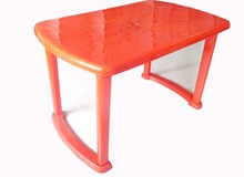 red ABS plastic folding table and chairs