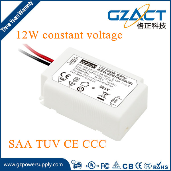 TUV SAA CE approved 12Vdc constant voltage 12w 18w led driver for led strips