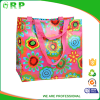 Stylish reusable gift bags pp woven colorful sturdy shopping bag
