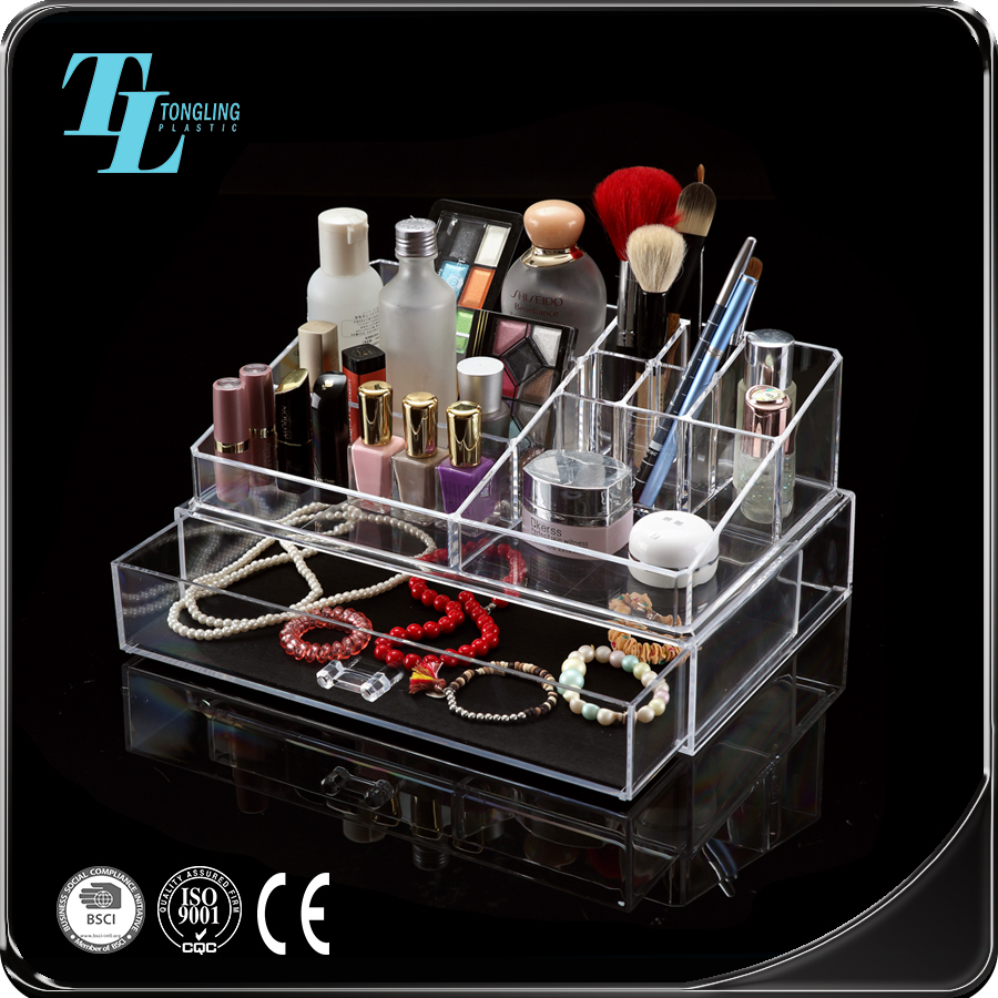 Top manufacturer hot selling clear acrylic makeup box with drawers