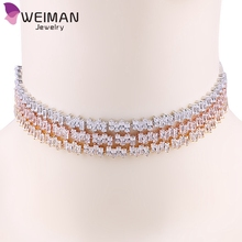 2017 New Arrival Irregular Square Design Sparkling Cubic Zirconia CZ women Choker Necklaces for Party