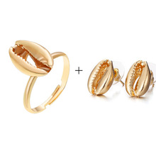 Fashion Gold Shell Rings with <strong>earrings</strong> for jewelry Wholesale NS1810103