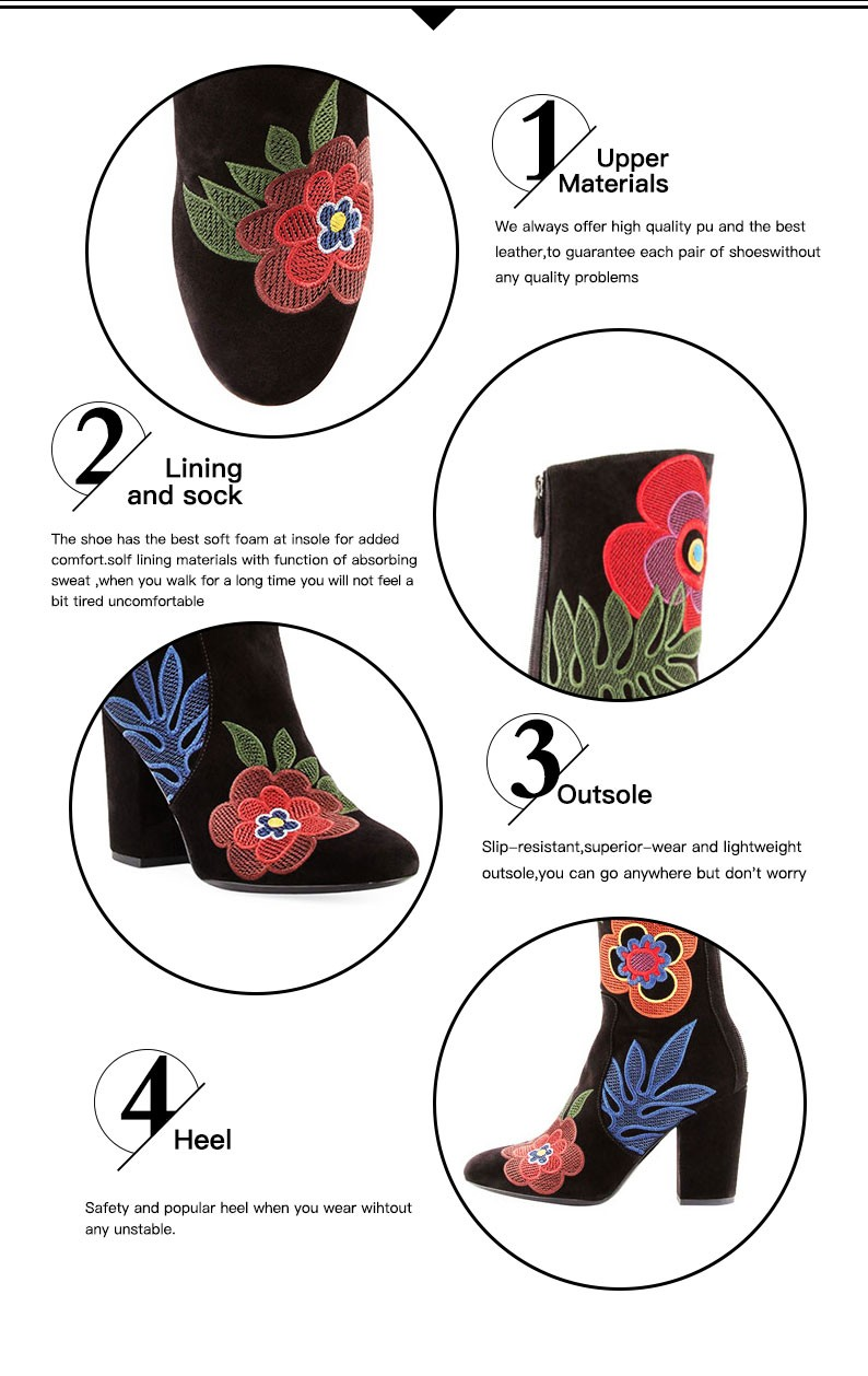 Floral Embroidered handmade Suede shoes ladies 2017 women shoes boots model