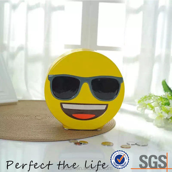 Large cool yellow emoji ceramic piggy bank