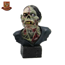 Factory custom made one eyed skeleton zombie resin bust statue