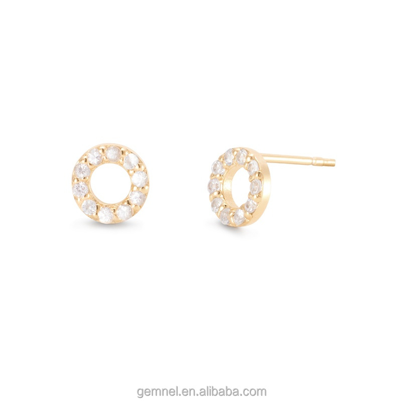 Handmade AAA quality white sapphire halo earrings copper jewelry with gold plated