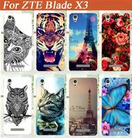 For zte blade x3 d2 Case,High Quality 14 patterns painting Soft tpu Back Cover Case For zte blade x3 d2