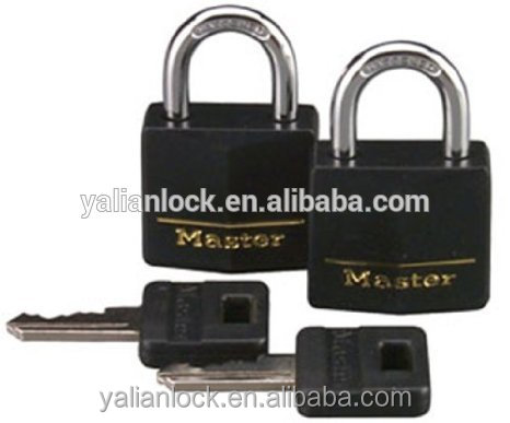 Zhejiang Yalian Brand Master Lock 131T Black Cover, 3/16-inch Shackle, 2-Pack, Solid Brass Keyed Alike Padlock