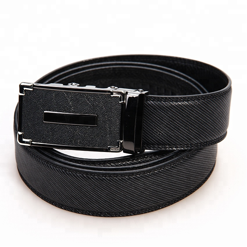 High Quality Import Genuine Leather Business Men's Slide Ratchet <strong>Belt</strong> with Automatic Buckle