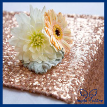 RU017E Nice glitter beaded metallic sequence wedding table decoration rose gold sequin table runner