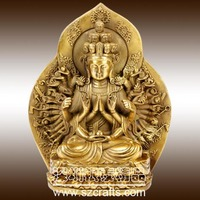 Copper metal casting gold plated sitting female buddha statue
