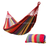 Portable Cotton Hammock, Cotton Rope Outdoor Swing Fabric Hammock Canvas Bed , for Camping Hanging , Porch, Backyard, Indoor
