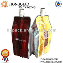 Metalized Plastic Foil Packaging with spout for wine