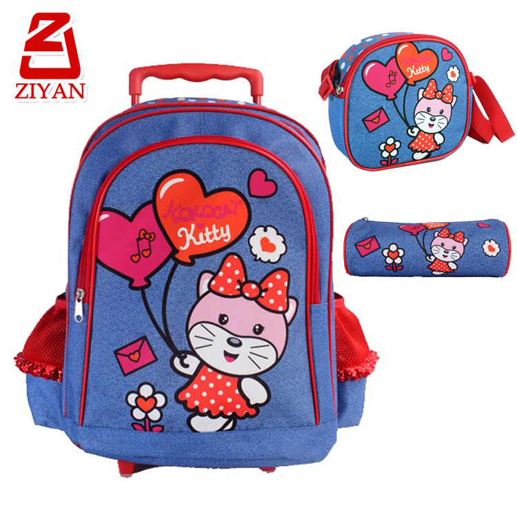 Original design kids wheeled book bag backpack for girls, 3 pcs / set cute cartoon cat children rolling school bag with trolley
