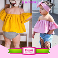 Summer Kids Baby Girls Flutter Crop Tops Toddler Baby Off Shoulders Tops Shirts With Bowknot Headband