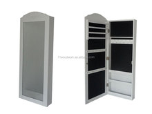 Wall mounted jewelry cabinet with mirror