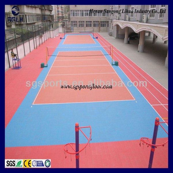 Anti-slip/Anti-agg and Multipurpose 100% recycled modular suspended interlocking plastic outdoor volleyball court floor