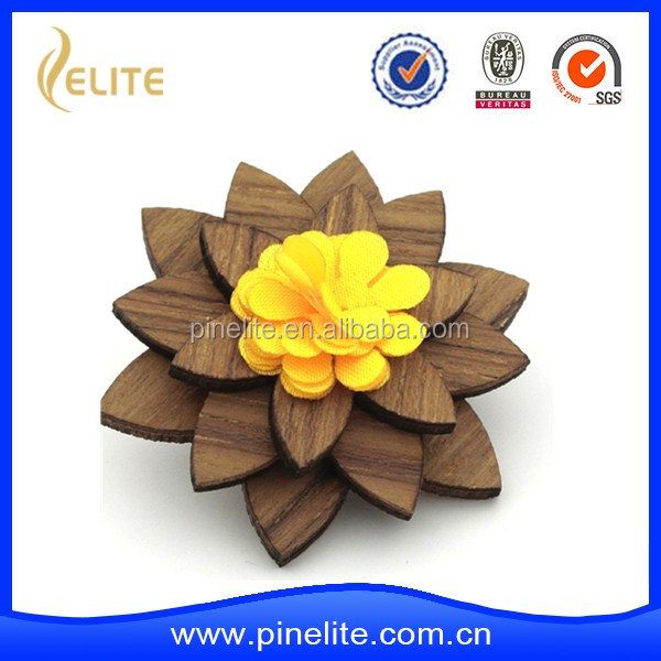 Wholsale Fashion Flower Brooch ,Wooden Flower Pins, Wooden Brooch For Suit