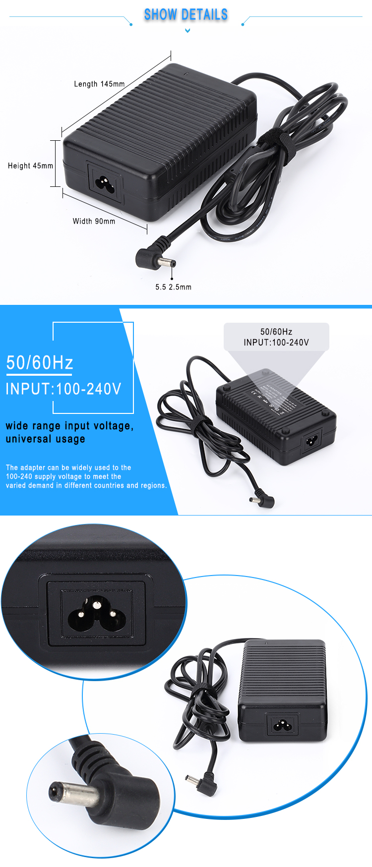 Desktop adapter 5v 10a 50w switching ac/dc power supply