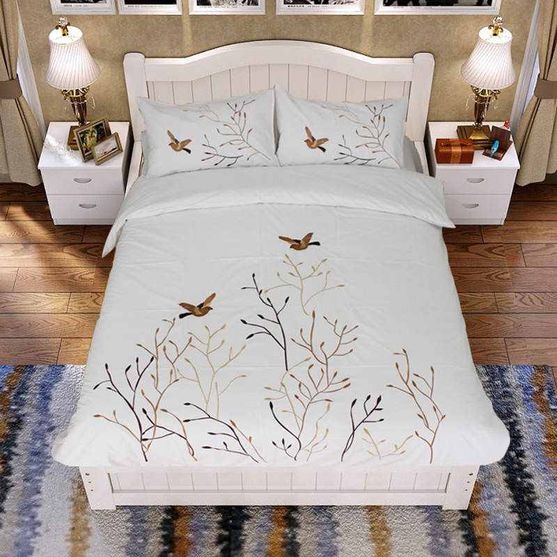 New arrival bedding embroidered 100% cotton 3 pieces bedding <strong>set</strong> piece bedding <strong>set</strong> embroidery fashion brief