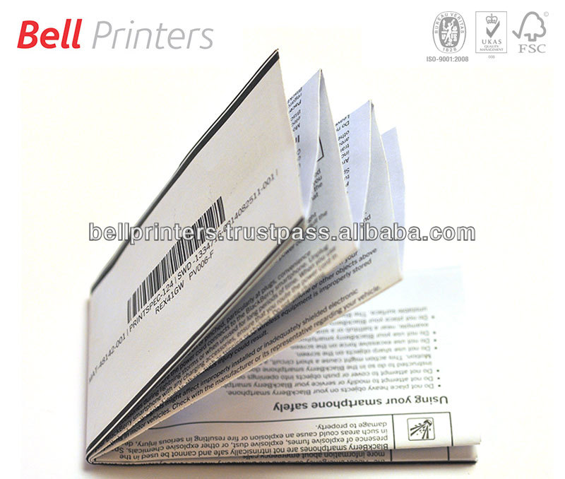 Pharmaceutical folded booklet single color printing from Indian supplier