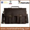 0344 Moshi New Stylish Italian Genuine Leather Business Briefcase for Men 15'' Laptop Bag