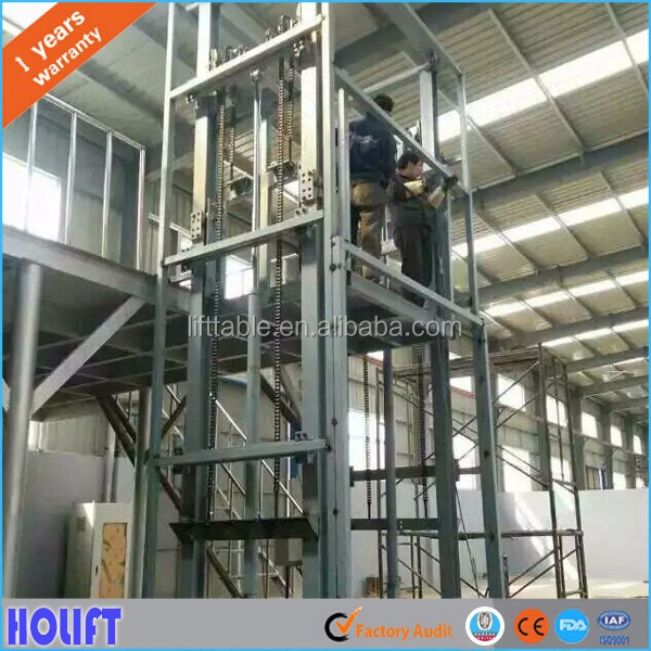 Vertical chain guide rail hydraulic goods lift table with best price