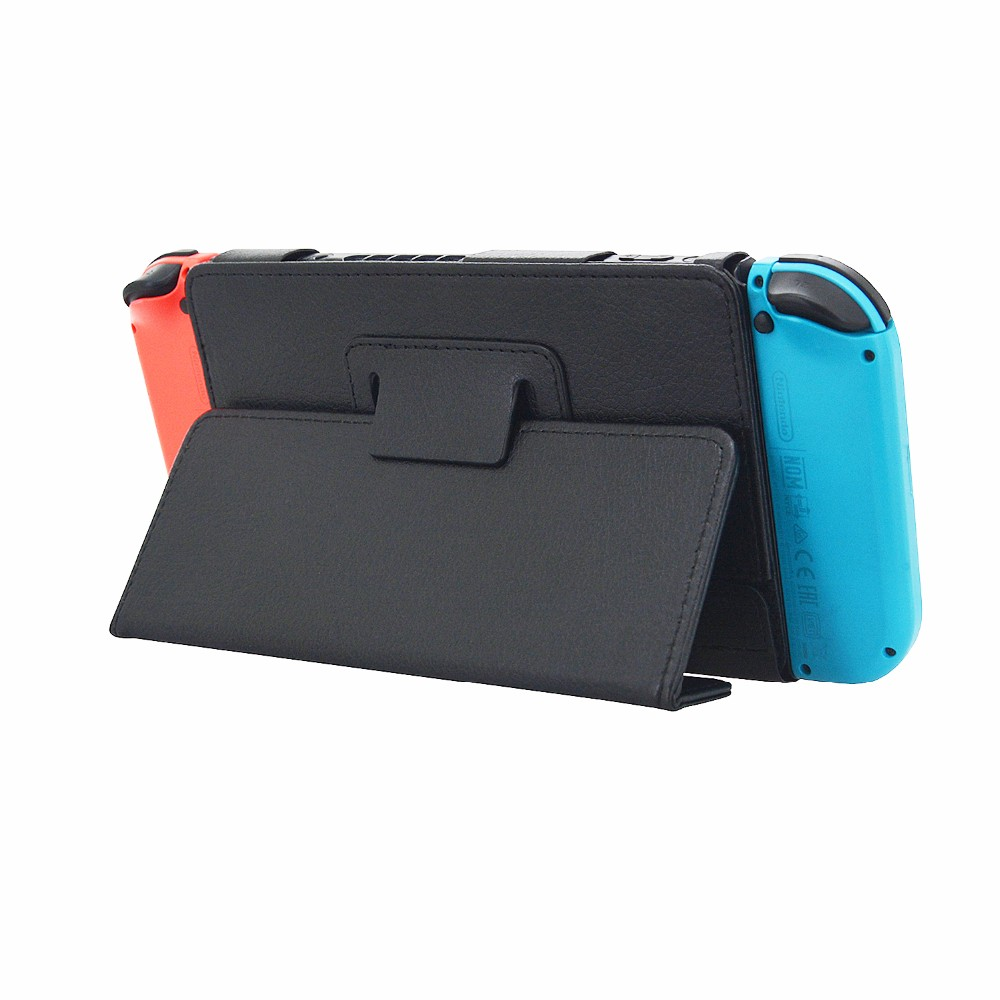 For Nintendo Switch Case, Letaher Folio Tablet Case Cover for Nintendo Switch Leather Cover Case, Black