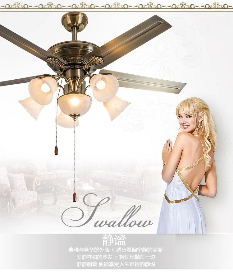 Buy European Style Retro Ceiling Fan Lamps With Remote Control Dining Room Living Decorated Lights 52inch Light In Cheap Price On