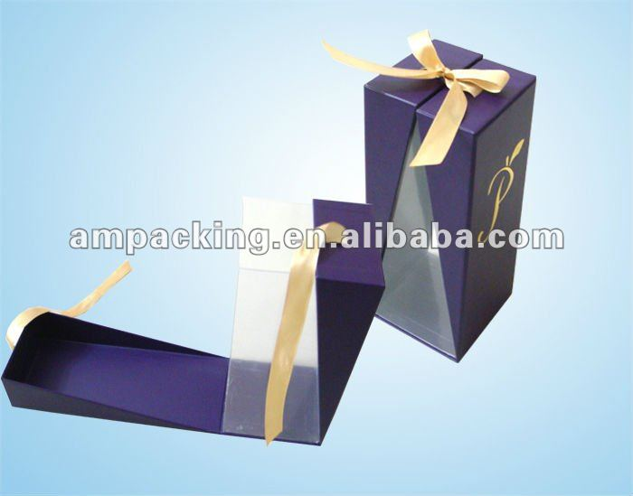 PET inner insert with ribbon tied foil logo paper box