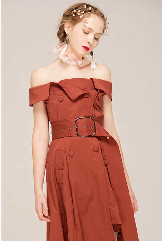 Chic sexy off-shoulder high waist irrecular irrecular A-line casual dress China factory