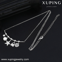 00113 XUPING pearl star lock bar necklace,alloy necklace,antique necklace