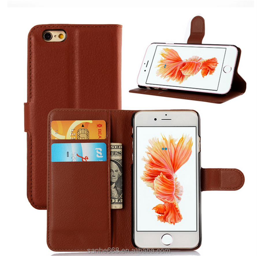 2016 Universal PU leather smart phone wallet cell phone case for Iphone 6 credit card wallet case with stand function