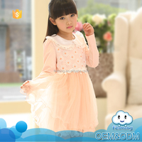2015 long sleeve flower fashion lace birthday clothes children girl dress