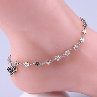 Europe Wholesale New Arrival Retro Metal Flower Bangle Metal Girls Anklet Silver Charm Heart Anklet For Girls Gifts