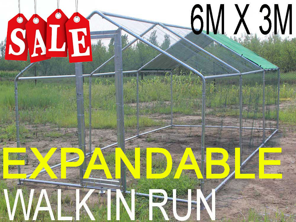 CHICKEN RUN 3M X 6M WALK IN COOP FOR POULTRY DOG <strong>RABBIT</strong> HEN CAGE PEN METAL DOOR