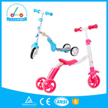 custom promotional kids sports 3 wheels 2in 1 scooter