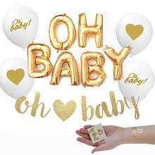 Baby Shower Mylar Foil Balloons Glitter Banner Oh Baby Tattoos Decorations