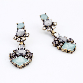 Fashion retro Square Crystal Flower extra long post earrings