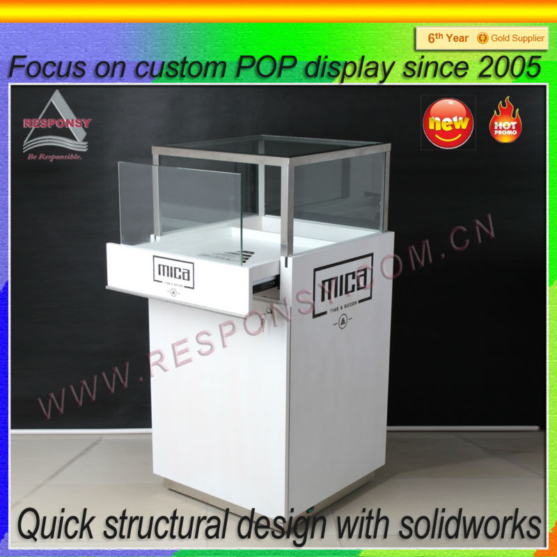 New Arrival Floor Merchandise Illuminated Watch Display Rack Supplied by Responsible Customized Display Producer