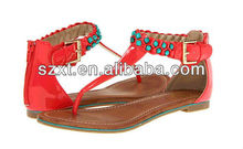 Ladies summer fake buckle,colorful bead decorate back zip, flipflop sandal shoes for woman