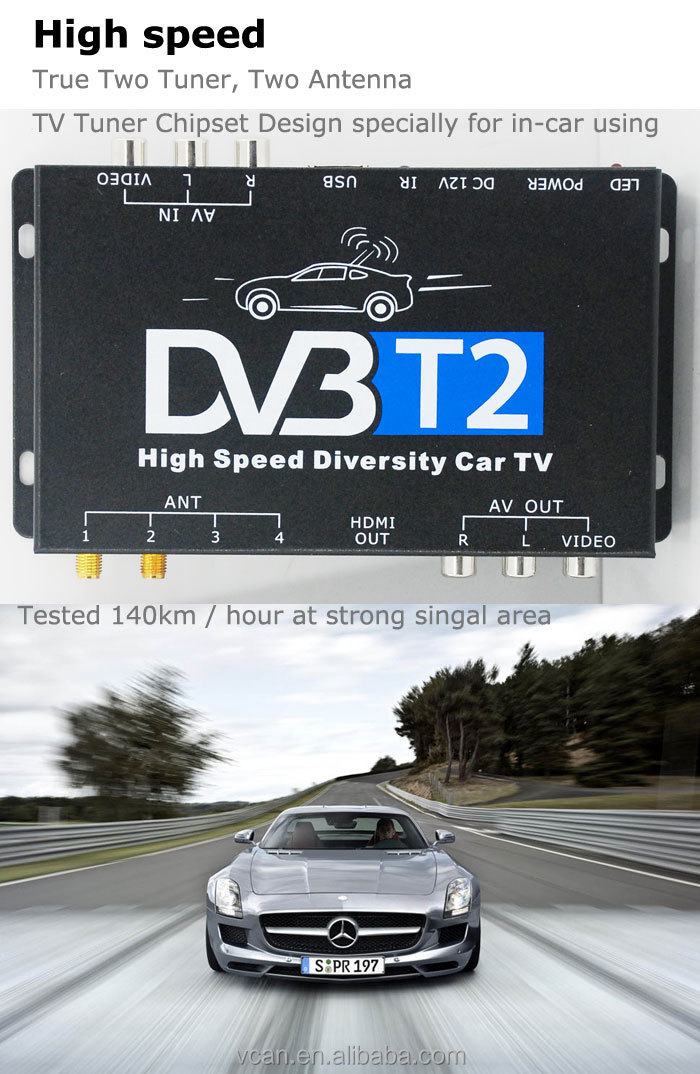 DVB-T22 car DVB-T2 2 active antenna TV tuner USB High Speed