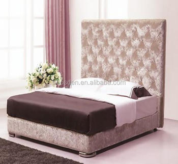 luxury furniture comfortable fabric high headboard bed frame BSD-450256