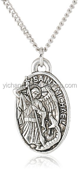Men'S Saint Michael Pendant Necklace,High Polish 316l Stainless Pendant