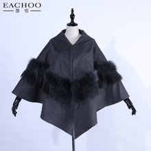 Natural Wool Fox Fur Scarf / Collar / Cape / Shawl / Wrap / Poncho