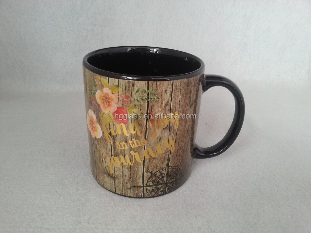 foil gold printing ceramic mug with gold handle, metallice handle ceramic mugs