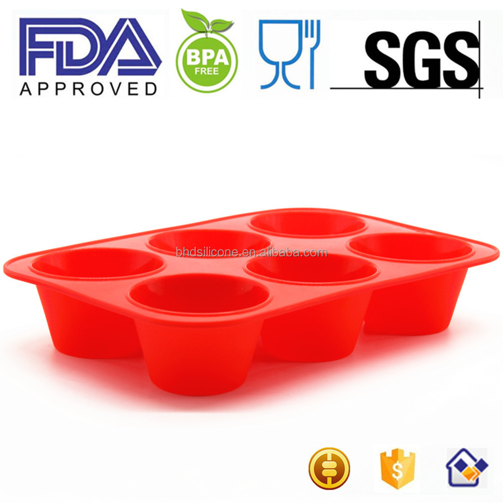Hot sale Silicone cake mold, microwave safe oven cake pan, 6 cups muffin pan