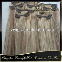 Top quality 22 24 26 inch human hair remy clip in hair extensions